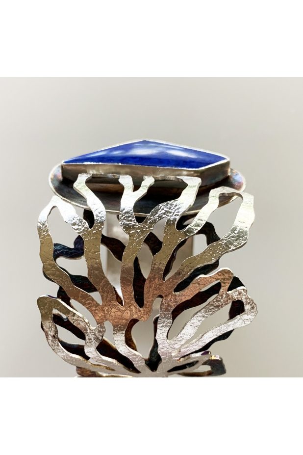Sterling silver and lapis cuff detail