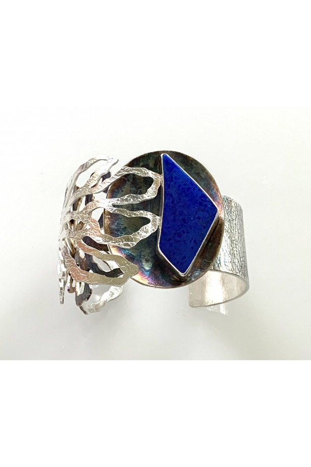 Sterling silver and lapis cuff