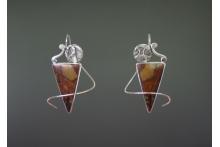 Earrings with a Twist©  Sterling silver, African Queen jasper