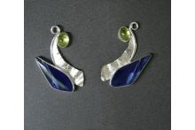 Earrings sterling silver, sodalite, peridots