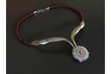 Neckpiece sterling silver, amethyst stalactite slice, beads 14k