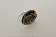 Silver and gold ring with patina.