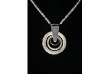 Neckpiece. SS, fine silver, pearls, drusy quartz