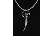 Sterling silver, copper, fine silver chain, patina.  Neckpiece.