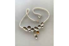 Etched sterling and pearls necklace