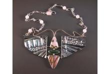 Neckpiece w ocean jasper. SS, jasper, rose quartz, gold.