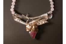 """Summer Berries. SS, 22k gold, 18k gold, raspberry quartz, rose quartz beads 17"""""""